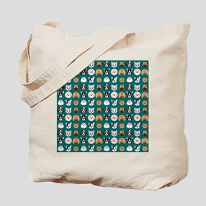 Cartoon Dogs on Teal Background Tote Bag