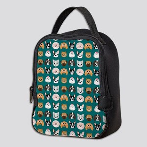 Cartoon Dogs on Teal Background Neoprene Lunch Bag