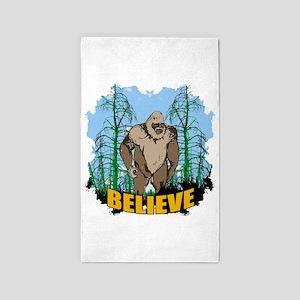 Believe in Bigfoot 3 3'x5' Area Rug
