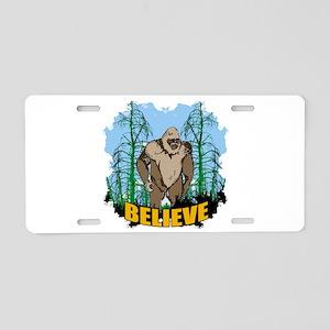 Believe in Bigfoot 3 Aluminum License Plate