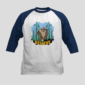 Believe in Bigfoot 3 Kids Baseball Jersey