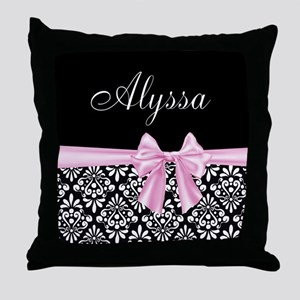 Black Pink Bow Damask Personalized Throw Pillow