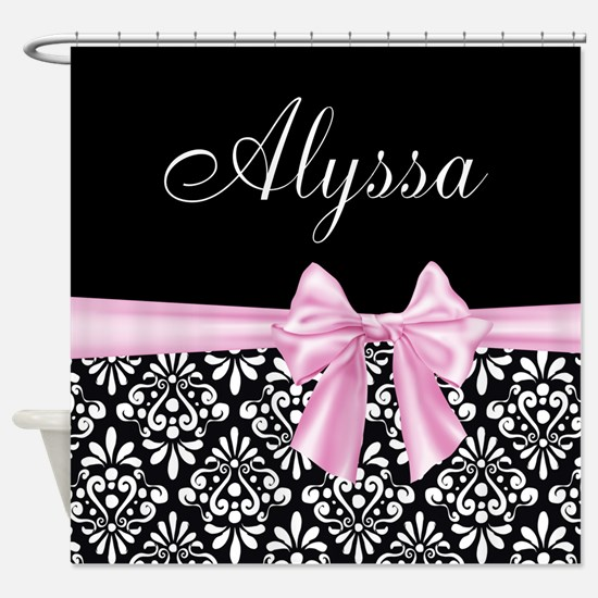 Black Pink Bow Damask Personalized Shower Curtain