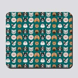 Cartoon Dogs on Teal Background Mousepad