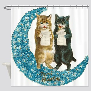 funny singing cats Shower Curtain
