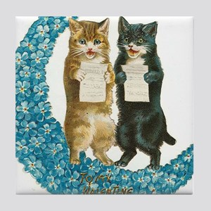 funny singing cats Tile Coaster