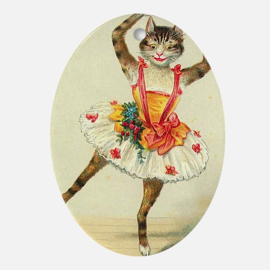 cat ballerina Ornament (Oval)