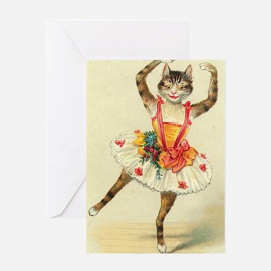 cat ballerina Greeting Cards