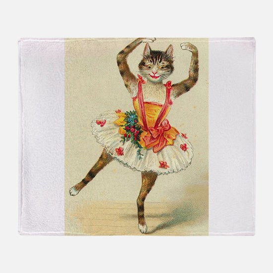 cat ballerina Throw Blanket