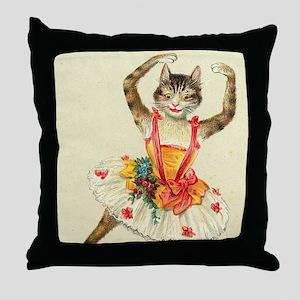 cat ballerina Throw Pillow