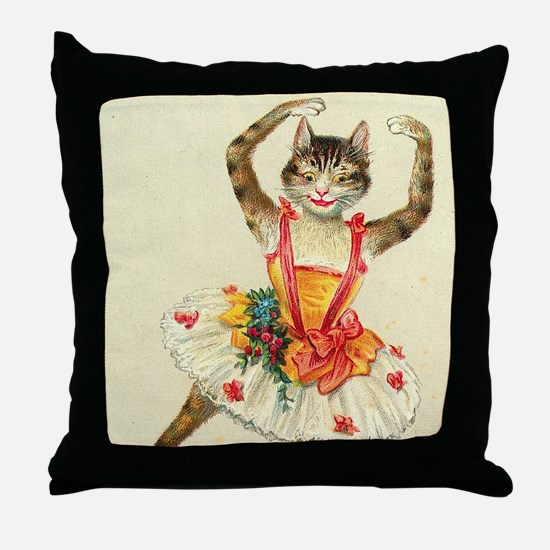 cat ballerina Throw Pillow