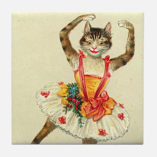 cat ballerina Tile Coaster