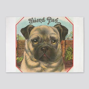 pug dog 5'x7'Area Rug