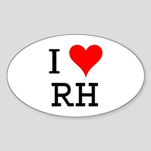 I Love RH Oval Sticker