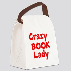 Crazy Book Lady Canvas Lunch Bag
