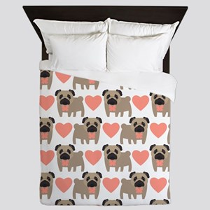 Pugs and Hearts Queen Duvet