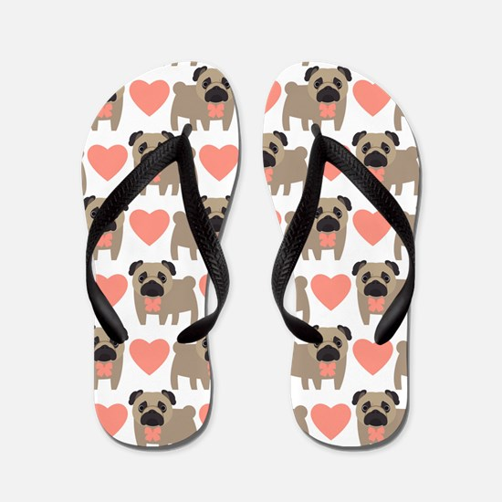 Pugs and Hearts Flip Flops