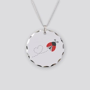 Cute Flying Ladybug, Heart Trail Necklace