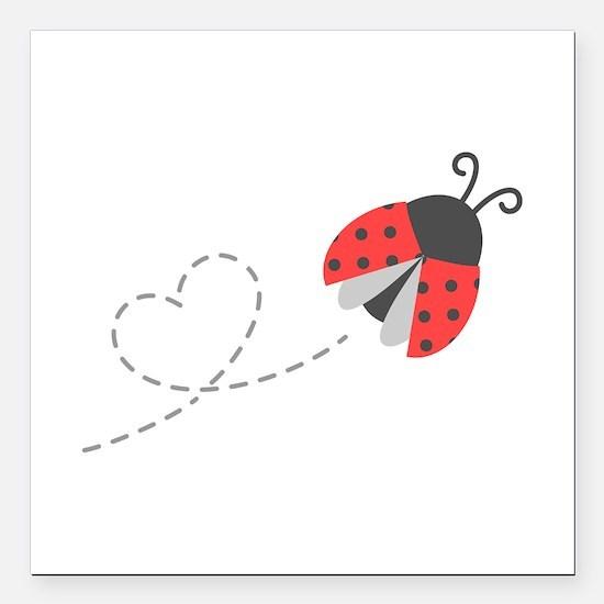 Cute Flying Ladybug, Heart Trail Square Car Magnet
