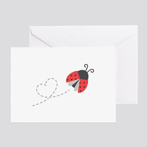 Cute Flying Ladybug, Heart Trail Greeting Cards