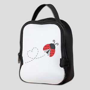 Cute Flying Ladybug, Heart Trail Neoprene Lunch Ba