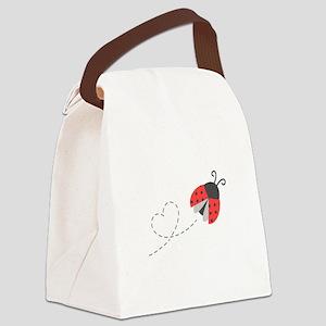 Cute Flying Ladybug, Heart Trail Canvas Lunch Bag