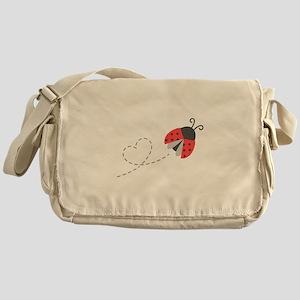 Cute Flying Ladybug, Heart Trail Messenger Bag