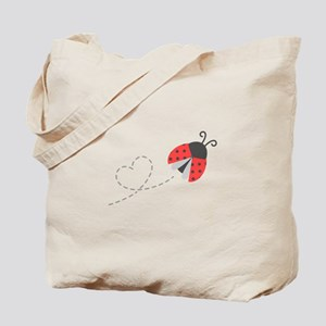 Cute Flying Ladybug, Heart Trail Tote Bag