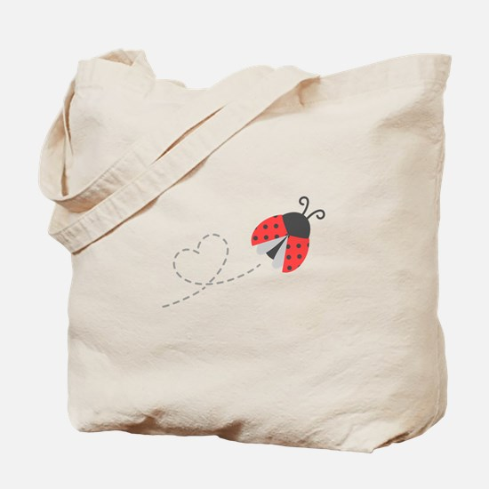 Cute Flying Ladybug, Heart Trail Tote Bag
