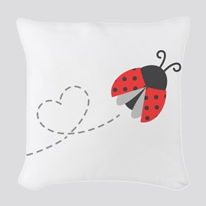 Cute Flying Ladybug, Heart Trail Woven Throw Pillo