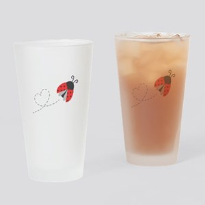 Cute Flying Ladybug, Heart Trail Drinking Glass