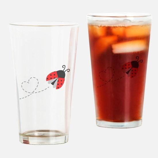 Cute Flying Ladybug, Heart Trail Drinking Glass