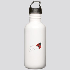 Cute Flying Ladybug, Heart Trail Water Bottle