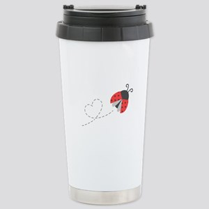 Cute Flying Ladybug, Heart Trail Travel Mug