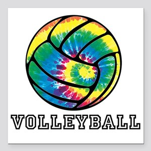 "Tie Dyed Volleyball Square Car Magnet 3"" x 3"""