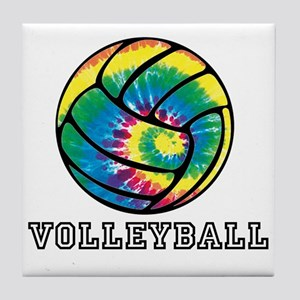 Tie Dyed Volleyball Tile Coaster