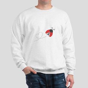 Cute Flying Ladybug, Heart Trail Sweatshirt