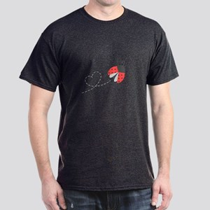 Cute Flying Ladybug, Heart Trail T-Shirt