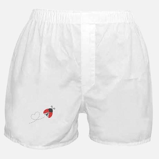 Cute Flying Ladybug, Heart Trail Boxer Shorts