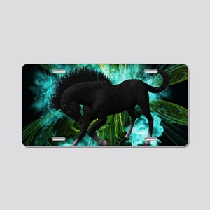 Beautiful horse with green clouds Aluminum License