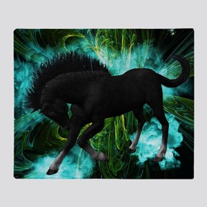 Beautiful horse with green clouds Throw Blanket