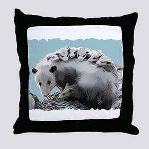 Possom Family on a Log Throw Pillow