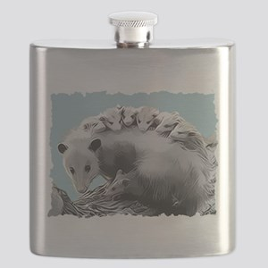 Possom Family on a Log Flask