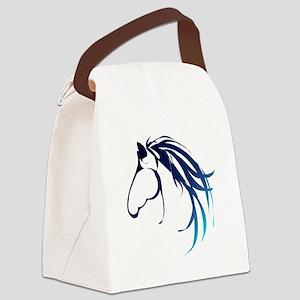 Classic Blue Horse Head Logo Canvas Lunch Bag
