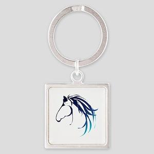 Classic Blue Horse Head Logo Keychains