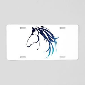 Classic Blue Horse Head Logo Aluminum License Plat