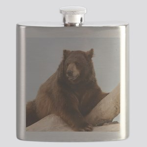 Bear on Log Photo Flask