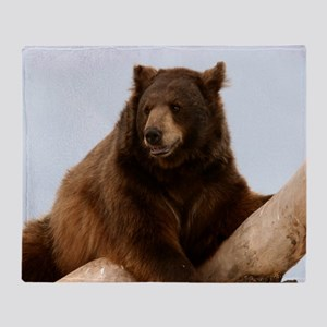 Bear on Log Photo Throw Blanket