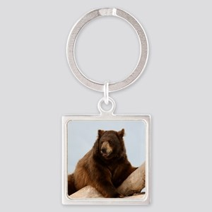 Bear on Log Photo Square Keychain