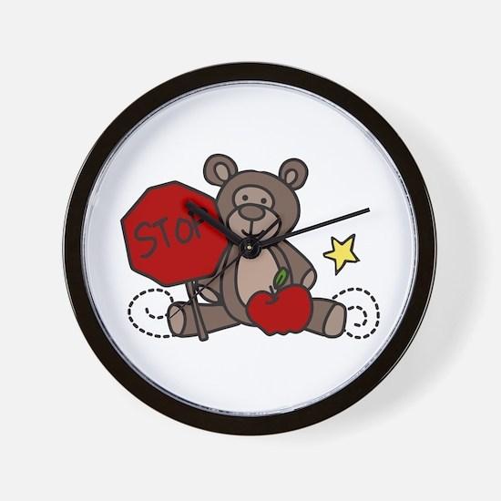Crossing Guard Bear Wall Clock